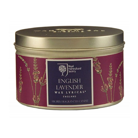 English Lavender Scented Tin Candles RHS Fragrant Garden Wax Lyrical 20 Hours